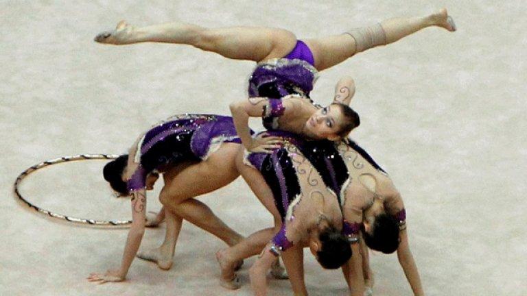 За съчетанието си с ленти и обръчи българският ансамбъл спечели световната титла на първенството по художествена гимнастика в Монпелие, Франция