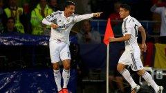 Роналдо и Хамес празнуват втория гол на португалеца в Кардиф.