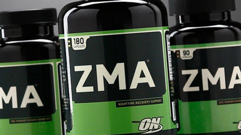 2. ZMA (цинк + магнезий + B6, ЗМА)  Това е хранителна добавка, която съдържа цинк, витамин В6 и аспартат магнезий. Тази комбинация е известна с това, че ефективно подобрява качеството на съня заедно с увеличаване на тестостерона, което води до по-добро възстановяване на мускулите. Много от използващите ZMA , особено активно занимаващите се с фитнес и спорт, изпитват значително увеличаване на силата и издръжливостта. Тъй като е направена изцяло от естествени витамини и минерали, добавката е напълно безопасна. Препоръчва се за приемане при редовно спортуващи, защото се изчерпва бързо при физически натоварвания.  Храни богати на Цинк: говеждо месо, сусам, тиквени семки, леща, боб, кашу, пуешко месо, киноа, скариди.