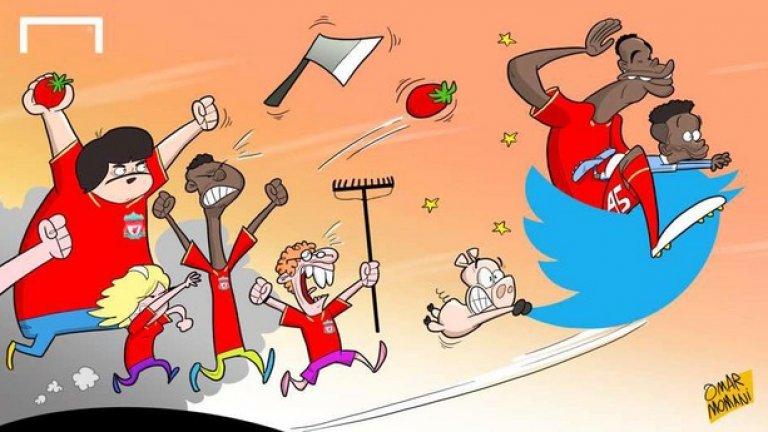 Марио Балотели похвали Рахийм Стърлинг в Twitter за дебютния гол още в първия му мач за Сити, с което вбеси всички в Ливърпул