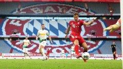 """Байерн Мюнхен е единственият отбор, който успя да спечели всичките си домакинства след подновяването на сезона в Бундеслигата - три мача на """"Алианц Арена"""", три победи за тима на Ханзи Флик."""