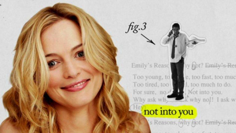"""Emily's Reasons Why Not - глупави стереотипи  Ситуационна комедия на ABC с Хедър Греъм в главната роля. Героинята й е кариеристка с неуспешен любовен живот, развила своя собствена система, по която да решава кога да прекрати една връзка. Сериалът е базиран на книга и е считан за по-благоприлична версия на """"Сексът и градът"""", но е спрян от програмния директор на ABC Стив Макфърсън, преценил, че """"поредицата няма да се подобри и е нужна бърза промяна"""".  Сред основните причини първият епизод да бъде приет зле са стереотипно разгърнатите сексуални теми. Emily's Reasons Why Not обаче е толкова усилено рекламиран и толкова внезапно спрян, че списанията се оказват пълни с материали за вече отписано шоу."""