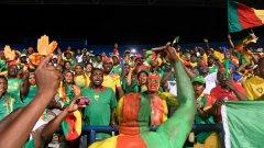 Хора от щаба на камерунците и зрители от трибуните нахлуха да празнуват победата на Камерун с футболистите на терена.