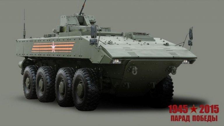 """Бронетранспортьор """"Бумеранг""""   Предназначен за транспортиране на подразделения, за огневата им поддръжка при бойни действия, унищожаване на жива сила, противотанкови средства и лекобронирана техника на противника"""
