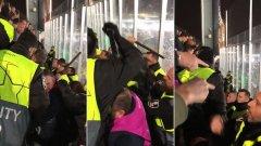 Грозни кадри: Стюарди на Барселона бият с палки фенове на Тотнъм (ВИДЕО)