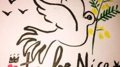 """Трагичният 14 юли събуди гълъба на мира: карикатури и туитове  """"Време е да сме добри/Ница (Nice)"""" - илюстрация на Plantu, карикатурист на Le Monde  Вижте още илюстрации в галерията"""