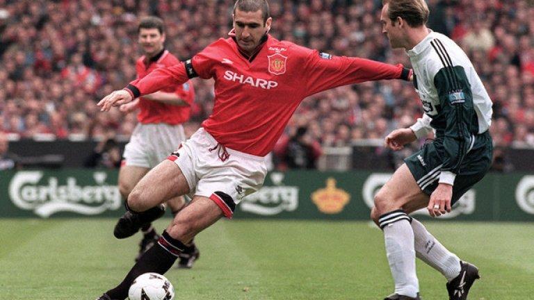 """Манчестър Юнайтед - Ливърпул 1:0, финал за ФА къп (11.05.1996 г.) Ерик Кантона бележи гола, който носи трофея на """"червените дяволи""""."""