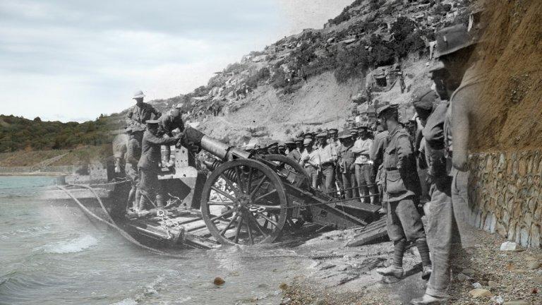 Галиполската операция - тогава и сега. Кадър, комбиниращ снимки от 1915 г. и 2015 г. Източник: Getty
