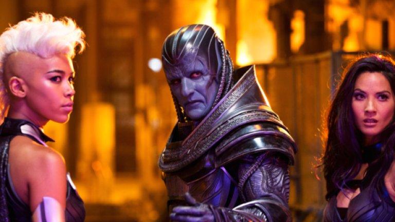 """Оскар Айзък в """"Х-Мен: Апокалипсис""""  Айзък ще изиграе първия мутант в света Апокалипсис, събудил се, за да прочисти човешката раса. Почти нищо от обичайното излъчване на актьора не е останало в начина, по който Апокалипсис изглежда в трейлъра."""