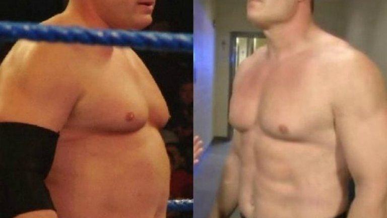 """Кейн  Когато за пръв път Глен Джейкъбс се появи в WWE като Кейн, той беше може би в най-добрата форма на живота си. Тогава обаче това не си личеше чак толкова заради червено-черния костюм, който постоянно носеше. Когато Кейн започна да се изявява гол до кръста, той вече не беше в топ форма и прогресивно качваше килограми. През 2011 г. той върна вида си на """"класическия Кейн"""" и отново покриваше торса си, а впоследствие пак махна костюма - но този път физиката му вече беше впечатляваща, тъй като Кейн беше възстановил формата си. Този период обаче също не продължи дълго и за последните си изяви на ринга през 2016 г. Кейн отново беше напълнял."""