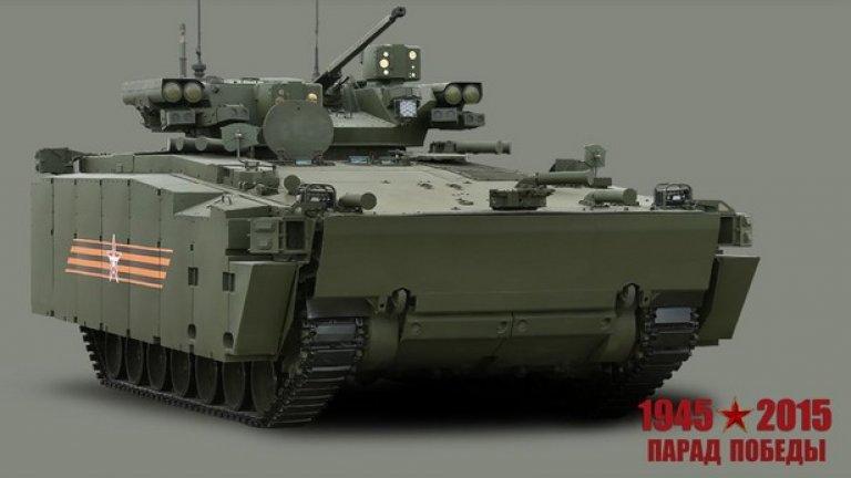 """Бойна пехотна машина """"Курганец-25""""  Предназначена за водене на маневрени бойни действия в състава на танкови и многострелкови подразделения в качеството на основно многоцелево бойно средство в условията на използване на ядрено оръжие и други видове оръжие за масово поразяване"""