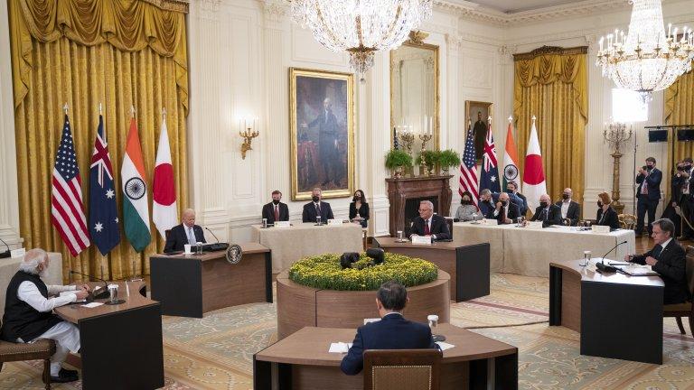 Лидерите на САЩ, Австралия, Индия и Япония по време на първата среща на върха в четиристранния формат за сътрудничество