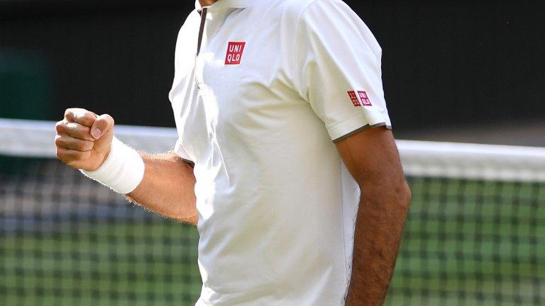 Федерер взе само един гейм във втория сет, но след това надигра категорично противника