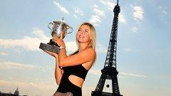 """Сред специалните дестинации, на които се е състезавала, Мария Шарапова винаги посочва Париж. На снимката тя триумфира на """"Ролан Гарос"""" през 2014-та"""
