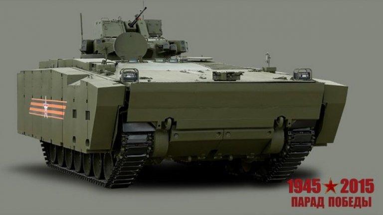 """Бронетранспортьор """"Курганец-25""""  Предназначен за транспортиране на подразделения на мотострелкови войски, водене на бой от машината и огнева поддръжка на пехотата"""