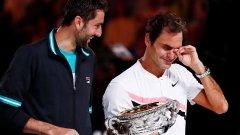Роджър Федерер вдигна трофея от Australian Open за шести път през 2018 г. след петсетова победа над Марин Чилич. Хърватинът вярва, че той и съпругата му са му помогнали за това.