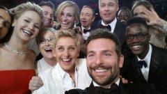 В най-споделяното селфи след церемонията Елън Дедженеръс блесна около дузина холивудски звезди. Семейните връзки са здрави