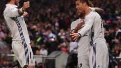 Роналдо ликува заедно с Бейл и Марсело след първия гол във вратата на Атлетико