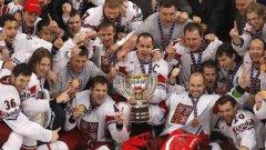 Чехите се радват след поредната победа над омразния отбор на Русия