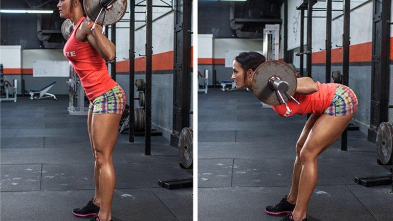 """11. Добро утро """"Добро утро"""" е изолиращо дърпащо упражнение, което натоварва дългите гръбначни мускули (кръста), задното бедро и седалищната мускулатура. Начин на изпълнение: Изнесете тялото съвсем леко напред за начална точка и стегнете корема. Свийте леко колене и се наведете напред, като придържате гръбнака си изправен. Спрете докъдето ви позволява гъвкавостта в бедрата. Без да движите таза, започнете да изправяте. Често срещани грешки са отпускане на корема, прегърбване при спускане надолу (извиване в гръбначния стълб), движение надолу и нагоре от врата и др. За по-голяма трудност може да го правите и като добавите тежест зад врата"""