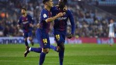 Коутиньо поздравява Дембеле за откриващия гол в мача