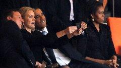 Селфито на Барак Обама, Дейвид Камерън и премиера на Дания Хеле Торнинг-Шмит по време на погребението на Нелсън Мандела предизвика международен скандал.