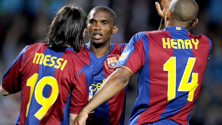 Самуел Ето`о Нападателят пристигна в Барса през 2004-а и отбеляза доста попадения, но страдаше от доста травми в сезона преди назначението на Гуардиола. Все пак имаше 16 гола в 18 срещи, но това не впечатли Пеп. Наставникът искаше да го продаде през 2008-а, а желаещи не липсваха. Но камерунецът изненадващо остана в отбора и реализира 36 гола в 52 мача. Барселона все пак искаше Златан и Ето`о се запъти към Интер.