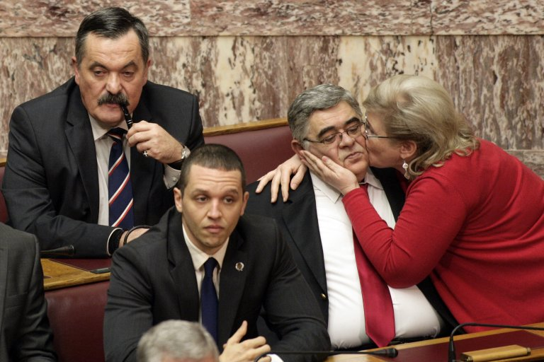 "Депутати от ""Златна зора"" с лидера им Никос Михалолиакос"
