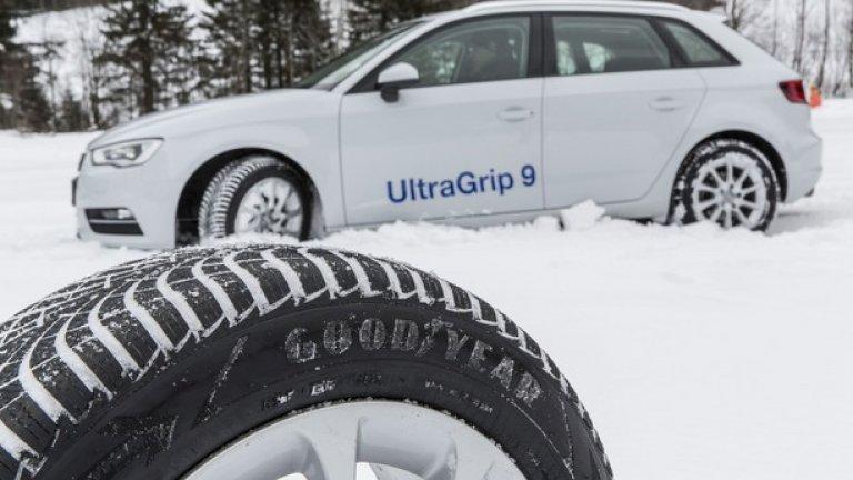 Втората позиция е за моделa UltraGrip 9 на Goodyear. Тук имаме много добри резултати на спиране на сухо, но с изразена тенденция за недозавиване. Гумата, впечатлява при спиране и в ситуации на аквапланинг. На сняг UltraGrip 9 също се представя силно - отлична спирачна дистанция и добро сцепление на пътя. Това е първо участие на този модел в класацията на AZ, което носи на гумата място в Топ 3 с общо 427 точки.