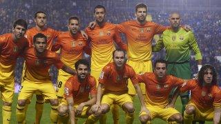 Титулярният състав на Барселона от 2012 г., срещу Леванте - когато 10 от титулярите са кадри на Ла Масия