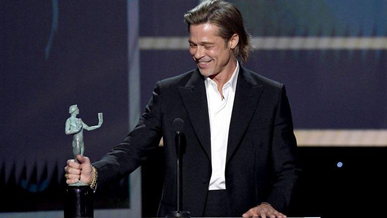"""Актьорът получи ново отличие за """"Имало едно време в Холивуд"""" и се постара да развесели публиката в речта си, в която се пошегува не само с личния си живот, но и с фетишите на Куентин Тарантино."""