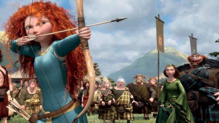 """""""Храбро сърце"""" (Brave) е сред изключенията, в които репликите на жени преобладават. В това няма нищо чудно, тъй като филмът е замислен специално да разбие стереотипа на анимациите за принцеси"""