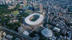 Националният стадион от птичи поглед. Вижте в галерията някои от обектите, на които ще се проведат Игрите през 2020-а.