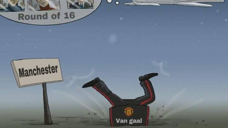 Карикатуристите пък бяха единодушни, обрисувайки провала на Юнайтед