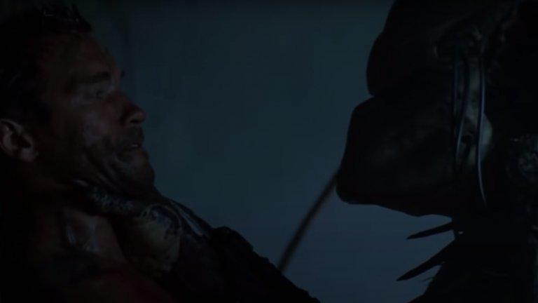 """""""Хищникът"""" -  Финалната битка  Развръзката в тази велика фантастика от края на 80-те идва, когато героят на Арнолд Шварценегер, останал единствен оцелял от отряда си, решава да се справи с извънземния нашественик, прекарвайки го през поредица от смъртоносни капани. Кулминацията идва, когато Хищникът решава да махне оръжията и маската и се изправя лице в лице като равен срещу противника си."""