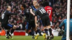 Уейн Рууни и Луиш Нани бяха най-голямата опасност за тима на Арсенал