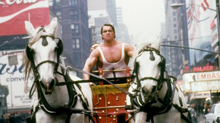 """Сцена от филма """"Херкулес в Ню Йорк"""". Снимката е направена в Ню Йорк през 1969 година."""