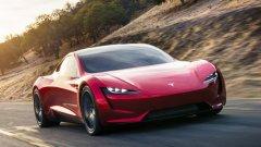 Tesla Roadster   През 2017 г. Илон Мъск обяви създаването на ново поколение Tesla Roadster, а първите бройки от серията трябва да са на пазара през 2020 г. Roadster се очертава да бъде най-скъпият електромобил на марката с цена от около 200 хил. долара.   Срещу тази сума обаче получавате впечатляващо представяне на пътя, за което редица автомобили с двигател с вътрешно горене могат само да си мечтаят. Tesla Roadster ускорява от 0 до 100 км/ час за по-малко от две секунди и може да вдигне до 400 км/ час. С едно зареждане ще може да измине малко под 1000 км.   Дизайнът също не отстъпва и крачка назад. Колата е с подвижен стъклен покрив, който осигурява прекрасна панорамна гледка, дори и да не е спуснат назад.