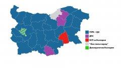 Картата горе показва коя е първата политическа сила в даден многомандатен избирателен район (МИР).