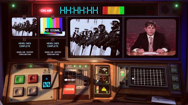Not for Broadcast  Да, този път няма да карате коли, да водите война или да строите каквото и да било. Not for Broadcast е едно доста различно заглавие в света на симулаторите, което ви въвлича в динамичния, бързо променящ се свят на телевизията и то в едно дистопично време някъде през 80-те години на миналия век, когато цензурата е вездесъща. Вие попадате там случайно и от чистач някак си се пренасяте зад контролния пункт на новинарската емисия, където се оказва, че залозите са големи, а очакванията към вас са сериозни.   Въпреки липсата на достатъчно квалификация за тази работа, на вас се пада тежката задача да угаждате на тези, които дърпат конците, като избирате новините, които да покажете на зрителя, слагате пегели на неподходящите реплики и контролирате камерите. Трябва да действате светкавично, защото новинарската емисия започва само след няколко секунди… Разбира се, винаги можете да предпочетете и позицията на бунтар и с вашите новини да си докарате куп неприятности и проблеми със силните на деня – изборът е изцяло ваш.