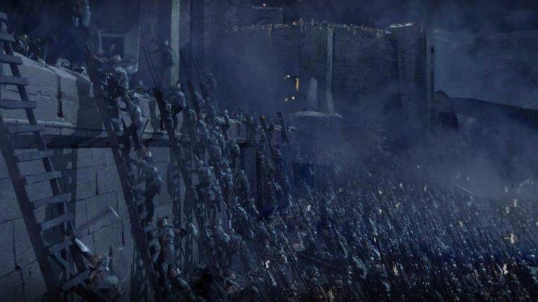 """""""Властелинът на пръстените: Двете кули"""" - Битката за """"Шлемово усое""""  Това е една от най-дългите битки в киното, а съчетанието между компютърна анимация и истински декор и персонажи се определя като истински технически шедьовър. За повече драматизъм всичко се случва на фона на проливен дъжд докато 10 000 орки се опитват да превземат последната крепост на Рохан."""