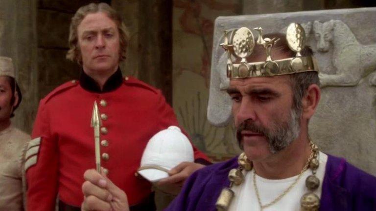 """Крал Дани (""""Човекът, който искаше да бъде крал"""") Изигран от: Шон Конъри  Заглавието на филма от 1975 г., адаптация на разказа на Ръдиард Киплинг със същото име, доста ясно показва основния конфликт. Разказва се за двама британци, които се насочват към непозната държава Кафиристан с идеята да помогнат на местния владетел, а впоследствие да му отнемат властта. Първо предлагат услугите си на лидера на често нападано селище, а след като обучават хората му се впускат в битка с агресивните съседи. След като стрела улучва якето на единия британец - Дани Дравът, но не го ранява, местните решават, че той е бог. Поредица от обстоятелства водят до издигането му в крал. Властта опиянява """"крал Дани"""", който заради богатството, статуса и плътските изкушения дори забравя за споразуменията с партньора си. Нещо, което приятелите никога не бива да правят! Но поне в случая с крал Дани всичко това има своите последствия."""