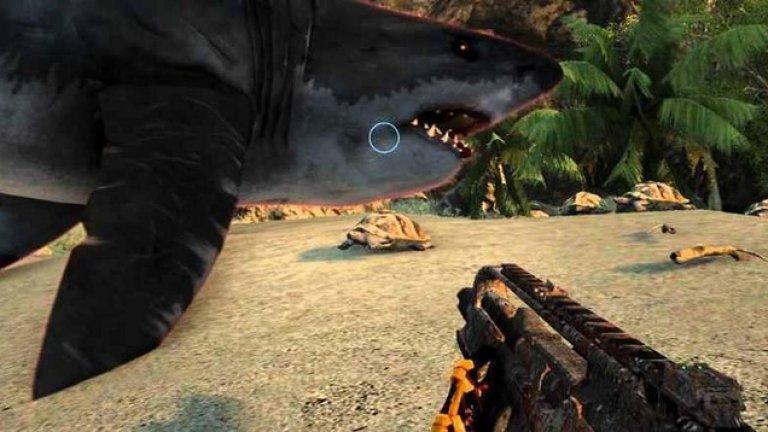 """Crysis - Като акула на сухо  Crysis е футуристичен шутър, в който се сражавате с мистериозни извънземни на тропически остров. За да не се отдалечавате прекалено, смъртоносни акули ще ви нападнат, ако плувате по-надалеч. Добре е да си спомните и надписите """"Не дразнете животните!"""" от зоопарка, защото ако се опитате да общувате с акулите от брега, доста голям е шансът те да ви последват и там, на крилете на некадърно написания код. Това, което следва, е преследване с акули в джунглата, което лесно може да се превърне в нереализирано продължение от поредицата """"Челюсти""""."""