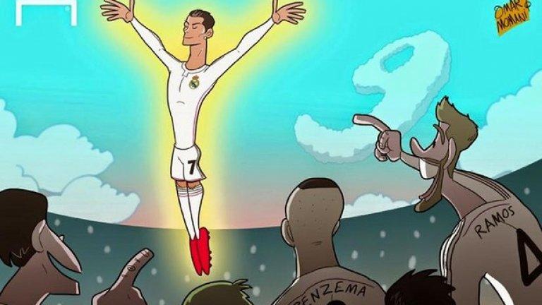 """Кристиано Роналдо вече има 80 гола в Шампионската лига и се превърна голмайстор №1 на турнира. Лионел Меси има 77. Португалецът се разписа на два пъти от дузпа, след което отбеляза третия си гол с глава при победата с 4:0 над Шахтьор (Донецк) на """"Бернабеу"""". Роналдо вече има 499 попадения в цялата си футболна кариера."""