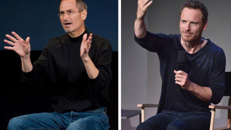 """Майкъл Фасбендър като Стив Джобс, съосновател на Apple (""""Стив Джобс"""", 2015 г.)  Един от по-сполучливите филми за Джобс е по сценарий на Арън Соркин, който стои и зад """"Социалната мрежа"""", a на режисьорския стол е Дани Бойл (""""Трейнспотинг""""). Майкъл Фасбендър е номиниран за """"Оскар"""" за ролята си на Джобс, въпреки очевидната липса на визуална прилика помежду им.  Филмът преминава през няколко конкретни момента от живота на легендата зад Apple, за да демонстрира перфекционизма му, силните и слабите му страни, отношенията със семейство и колеги. Въпреки всичко Фасбендър отбелязва, че е подходил към своята версия на Джобс като към """"човек със страст за визията си"""", вместо като зла особа, както са го описвали някои хора през годините.  """"Той винаги се е стремял към най-доброто, понякога до точка на пречупване. Но когато променяш света по такъв тектоничен начин, може би точно това се изисква"""", казва актьорът."""