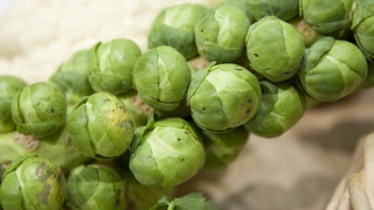 Брюкселско зеле - 37 калории / 100 гр. Брюкселско зеле са особено високо съдържание на протеини в сравнение с други зелени зеленчуци. Другиползи включват защита на очите и здравето на костите.