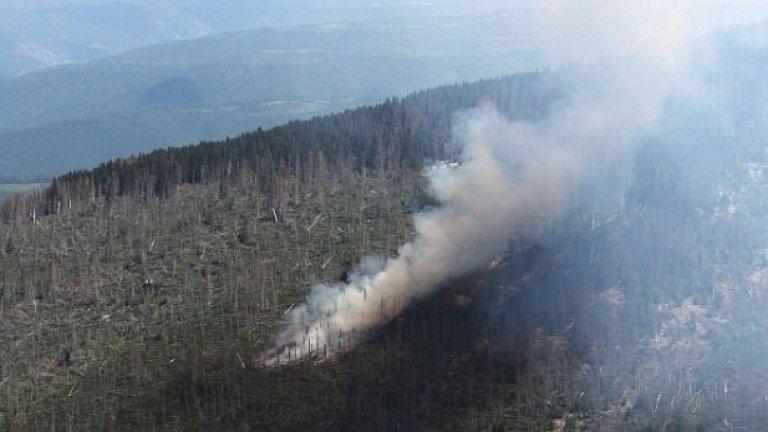 И в снимките, разпространени вчера от агенция Булфото, се виждат няколко огнища на зараждане на пожара