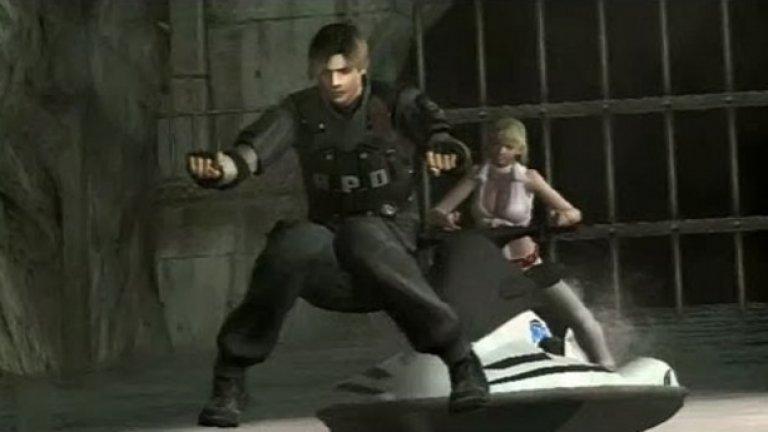 Resident Evil 4 - Джетът не е задължителен при карането на джет  Resident Evil 4 е модерна класика, вдъхновила десетки игри и умело комбинирала екшън, приключенски и сървайвъл хорър елементи. Но и тя не е защитена от комични бъгове, най-забавният от които е този с непокорния джет. Главният герой Леон до такава степен няма търпение да избяга от това злокобно място, че запалва джета и... тръгва без него, носейки се по водата като един съвременен библейски герой. Гличът има и алтернатива - тогава джетът решава да тегли една майна на героите и тръгва сам, докато Леон стои във въздуха, а ужасената Ашли навярно се чуди дали цялото това пътешествие не е просто една злоупотреба със забранени вещества.