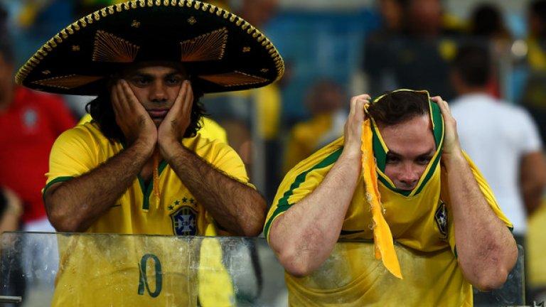 Фенове на Бразилия след съкрушителната загуба с 1:7 на Бразилия от бъдещия шампион Германия на домашния Мондиал 2014