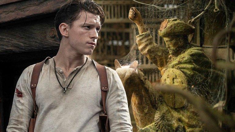 Uncharted Премиера: 16 юли  Още един филм, който премина през повече от 10 г. перипетии, смяната на трима режисьори и няколко отлагания във времето. В крайна сметка стигаме до Рубен Флайшер (Zombieland), който сяда на прокълнатото режисьорско място. Том Холанд (Spider-Мan:Homecoming) поема ролята на младия Нейт Дрейк - ловец на съкровища, ровещ се в различни исторически мистерии, а Марк Уолбърг ще играе неговият ментор Съли.   Преди пандемията се говореше, че снимките ще започнат скоро, но през март всичко бе временно стопирано. Оттогава насам имаме единствено дата за премиера и снимка на Холанд като Дрейк и Уолбърг с впечатляващ (или по-скоро странен) мустак.